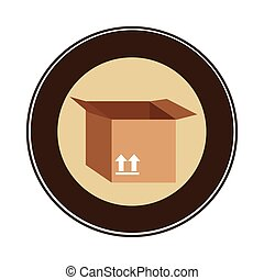 color circular emblem with open packing box