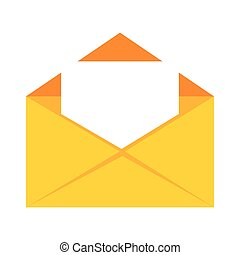 color silhouette with open envelope mail