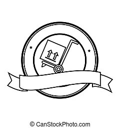 monochrome circular contour emblem with ribbon and hand truck with box
