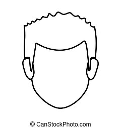 contour faceless front view man with hairstyle