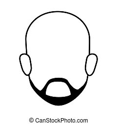 contour faceless front view bald man with beard