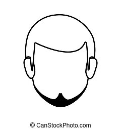 contour faceless front view man with beard