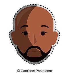 sticker colorful silhouette front view bald man with moustache