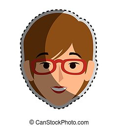 sticker colorful silhouette front view woman with glasses