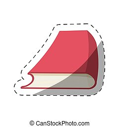 red book study school cut line vector illustration eps 10