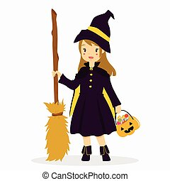 Halloween Witch Costume Vector Illustration - a girl wearing...