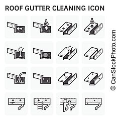 Gutter Cleaning Icon - Roof gutter cleaning and maintenance...
