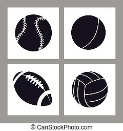 collection balls sport icons black and white vector...