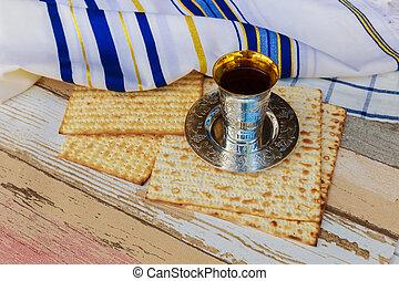 wine and matzoh jewish bread Passover matzo Passover wine -...