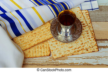 Matza bread for passover celebration and red wine Passover...