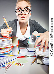 Crazy woman in office. - Administration workaholism clerk...