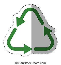 green arrow recycle environment cut line vector illustration...