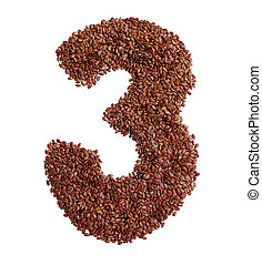 Number 3 made with Linseed also known as flaxseed isolated...
