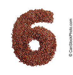 Number 6 made with Linseed also known as flaxseed isolated...