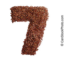 Number 7 made with Linseed also known as flaxseed isolated...
