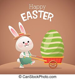 happy easter card bunny carrying egg vector illustration eps...