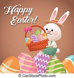 happy easter card rabbit holding basket egg