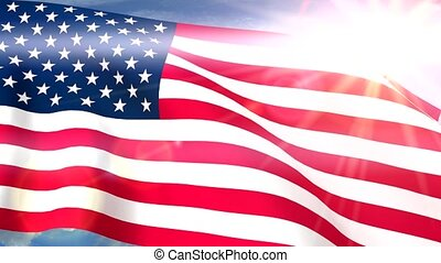 USA US Flags Closeup Waving Against Blue Sky CG Seamless...