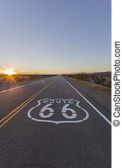 Route 66 Pavement Sign Desert Sunset