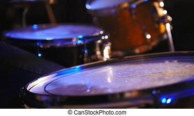 Concert rock band performing - drummer, close up, telephoto