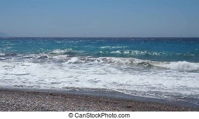 wild beach and foam - wild beach of the Aegean in Rhodes