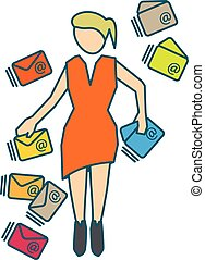 Young woman managing many incoming emails. Vector...