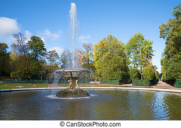 October day at the Bowl fountain in the Lower park of Peterhof