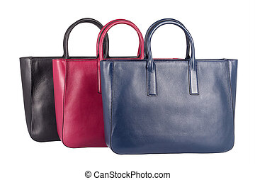 Collection of three natural leather female purse