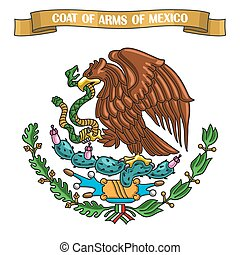 Vector illustration on theme Mexican Coat of Arms, heraldic...