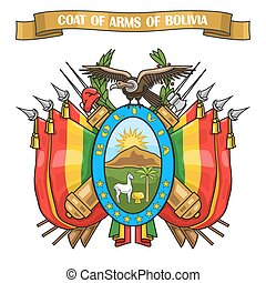 Vector illustration on theme Bolivian Coat of Arms, heraldic...