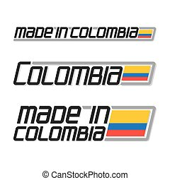 "Vector illustration logo ""made in Colombia"", three isolated..."