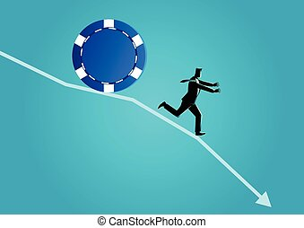 Blue Chip Stock Down - Business concept illustration of...