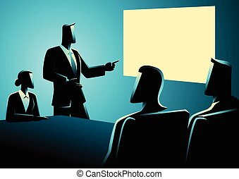 Business people having a meeting using projector - Business...