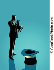 Businessman as a magician - Business concept illustration of...