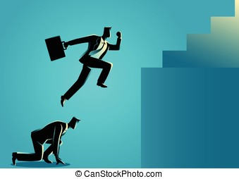 Businessman using his friend as a stepping stone to jump higher