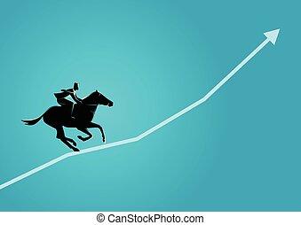 Businessman on horseback running on graphic chart - Business...