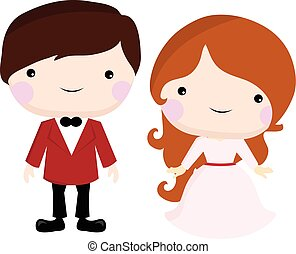 Cute wedding and romantic couple