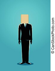 Paper Bag Head Businessman - Business concept illustration...