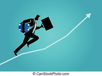 Businessman running carrying briefcase and blue chip