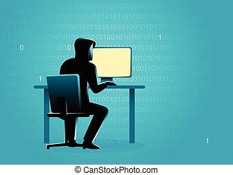 Hacker behind desktop computer - Business concept...