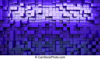 3D rendering. Blue extruded cubes. Abstract background....