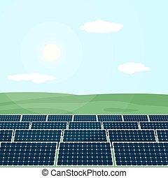Many solar panels produce energy from sun.