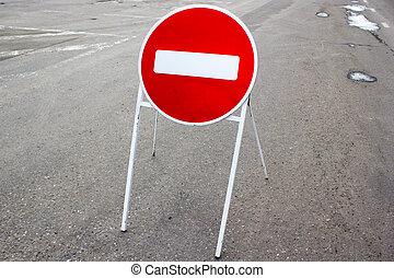 Road sign Stop on the asphalt