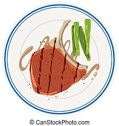 Porkchop and asparagus on plate illustration