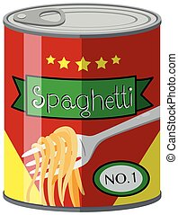 Canned food with spaghetti illustration