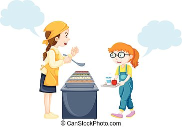 Girl getting food from woman in canteen