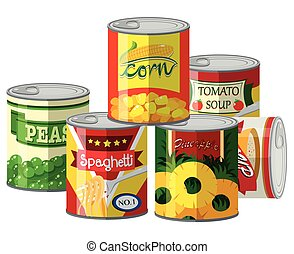 Pile of different canned food illustration