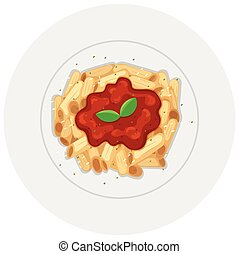 Penne pasta with tomato sauce illustration