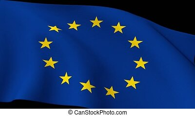 Euro Europe Flag Closeup Waving Eurozone EU European Union...