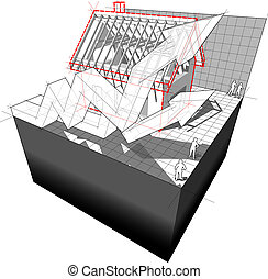 Diagram of a house under construction with rising business...